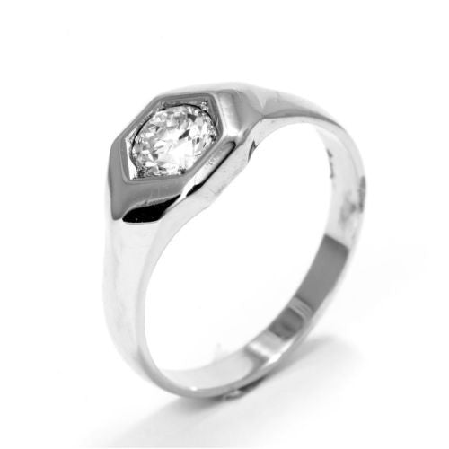 14K Solid White Gold Ladies DIAMOND RING 0.75 TCW Size 9.5 Resizable