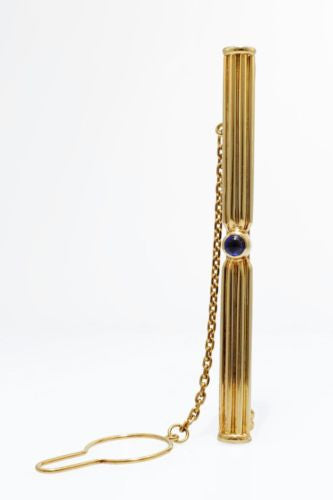 Authentic CARTIER 18K Yellow Gold TIE PIN w/ Deep Blue SAPPHIRE, 9.5g