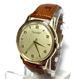 IWC 18K Yellow Gold Men's Watch w/ Brown Leather Band in Box