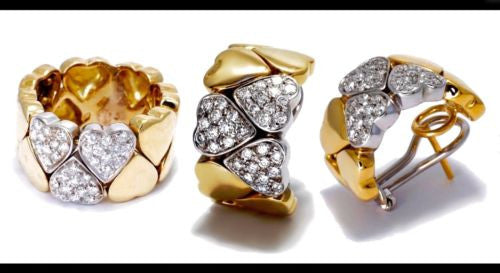 Gorgeous SET Of Heart-shaped 18K Yellow & White Gold RING & EARRINGS w/ DIAMONDS