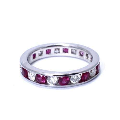 Platinum RUBY RING 0.92 TCW w/ DIAMONDS 0.76 TCW, G, VS-SI, Size 5.5 Resizable