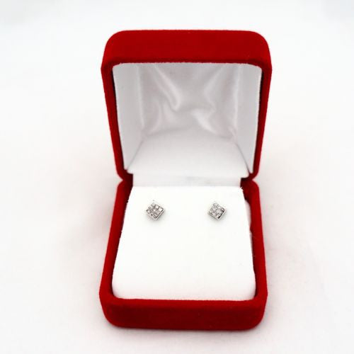 14K Solid White Gold DIAMOND Studs Earrings G VS 0.25 TCW