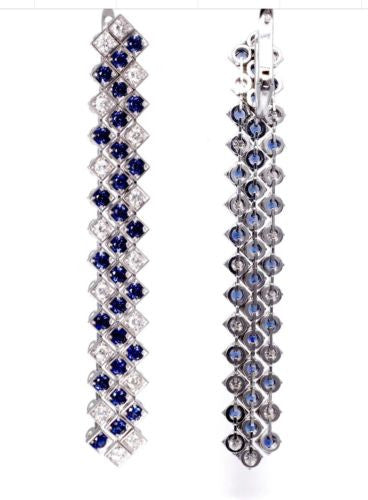 14K White Gold Chandelier EARRINGS w/ DIAMONDS 1.0 TCW, G, VS & SAPPHIRES 2TCW