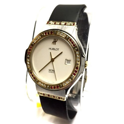 HUBLOT 18K Yellow Gold & Steel Unisex Watch w/ DIAMONDS & RED RUBIES In Box