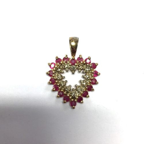 G-P Sterling Silver RUBY LOVE PENDANT Stamped .925, 6g