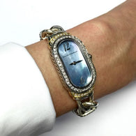 DAVID YURMAN .925 Sterling Silver, GP & SS Ladies Watch w Gorgeous Blue MOF Dial