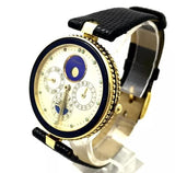 GÉRALD GENTA GEFICA 18K Yellow Gold Automatic Men's Watch Black Soft Leather Band