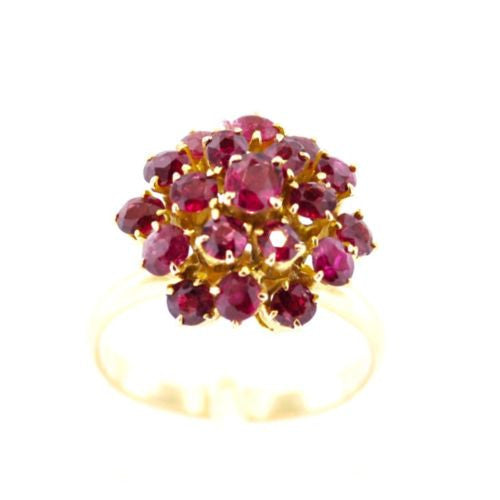 Vintage Victorian Era 14K Yellow Gold RING w Old Mine Cut RUBIES 3 TCW Size 8.25
