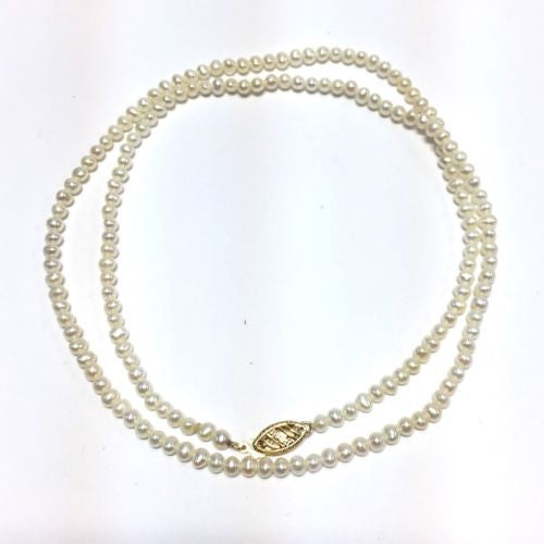 Single Strand 14K Yellow Gold Natural White Baby Pearl NECKLACE 20.5 Inches Long