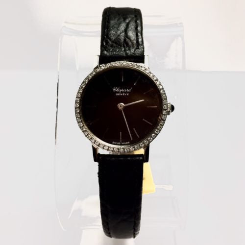 CHOPARD Stainless Steel Ladies Watch w/ DIAMOND Bezel & New Black Leather Band