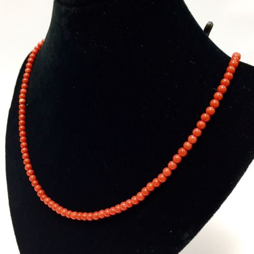 18K Yellow Gold CORAL NECKLACE 18.25 Inches, 8.7g Matching Bracelets Available