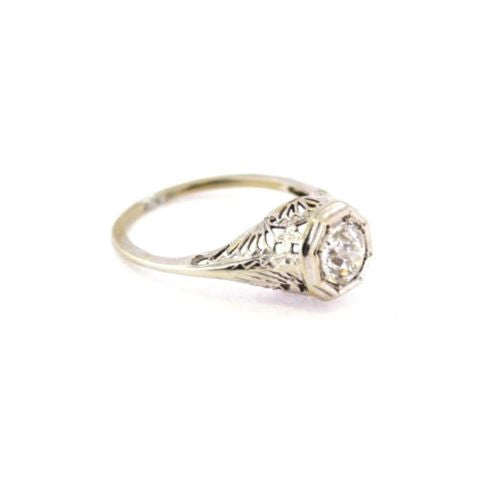 14K Solid White Gold Ladies DIAMOND 2 TCW RING Size 6.25 Resizable