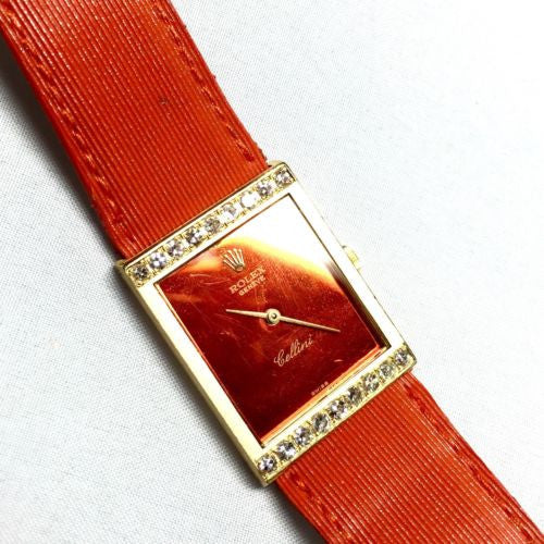 ROLEX CELLINI 18K Yellow Gold Ladies Watch w/ Orange Mirrored Dial & Orange Band