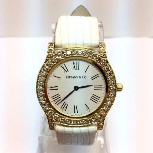 TIFFANY & Co. 18K Gold Ladies Watch Large DIAMONDS 1.5TCW  Diamond Buckle