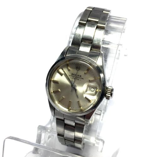 ROLEX OYSTER PERPETUAL DATE Stainless Steel Ladies Watch w/ Silver Dial in Box