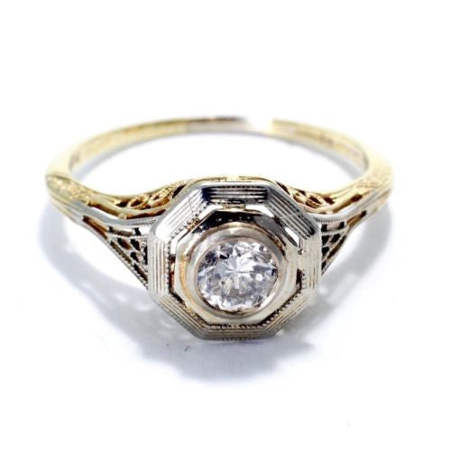 Gorgeous Vintage 14K Yellow & White Gold RING w/ DIAMOND 0.3 TCW Size 7, 2.2g