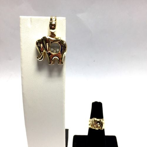 18K Yellow Gold CHOPARD HAPPY DIAMONDS Elephant Set Of PENDANT w/ CHAIN & RING 7