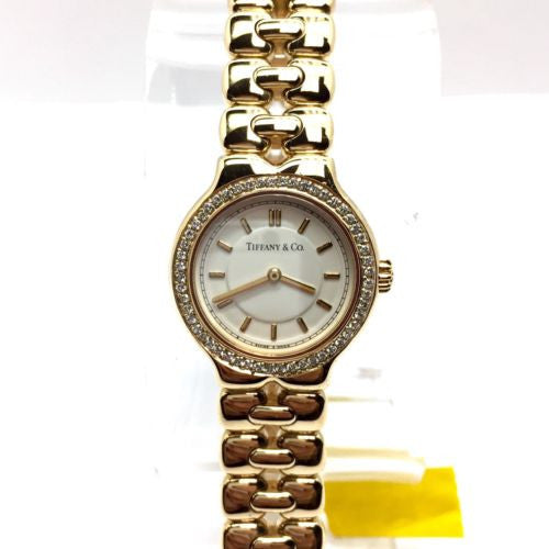 TIFFANY & Co. TESORO 18K Yellow Gold Ladies Watch w/ DIAMOND Bezel In Box