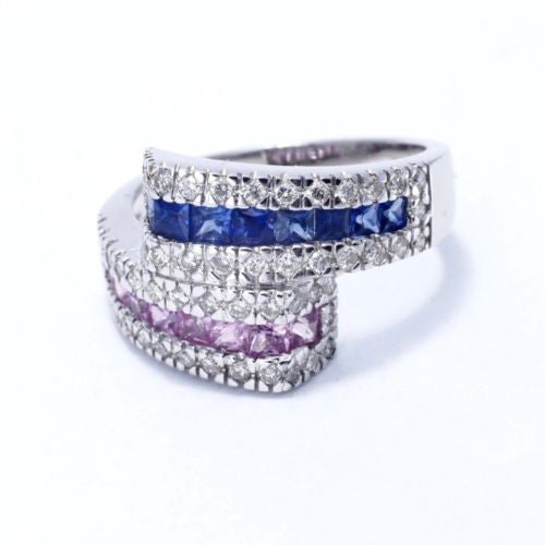 14K White Gold PURPLE And BLUE SAPPHIRES RING w/ DIAMONDS, Size 7.5 Resizable
