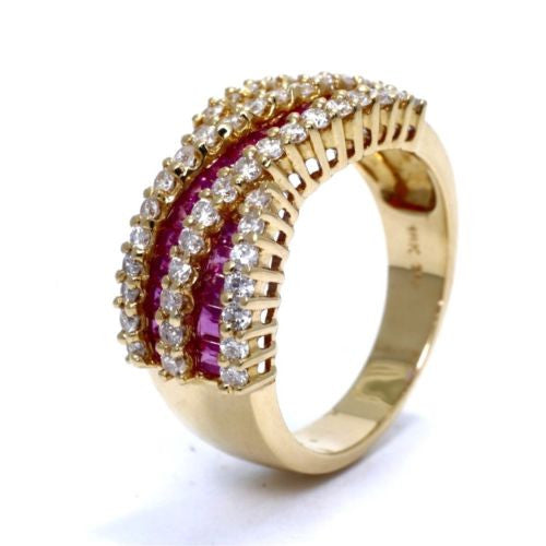 18K Yellow Gold RING w/ DIAMONDS 1 TCW, G, VVS & RUBIES 1.3 TCW, Size 7.75, 7.7g