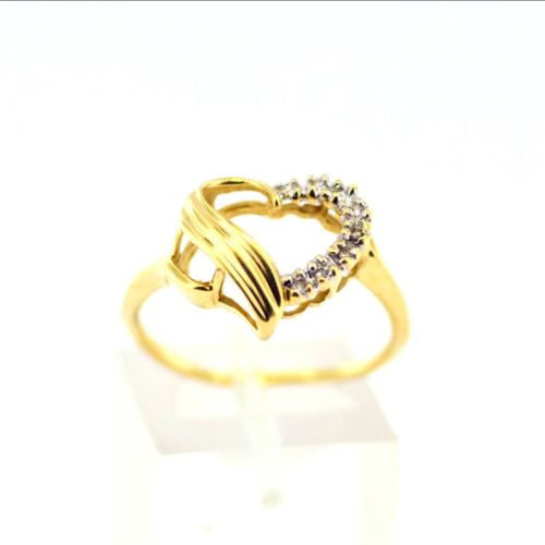 10K Yellow Gold Heart RING w/ DIAMONDS 0.15 TCW Size 8 Resizable