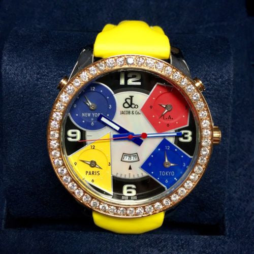 47mm JACOB & Co. 5 Time Zone Unisex Watch w/ FACTORY DIAMONDS & Original Band