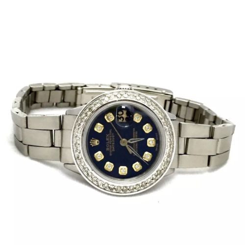 28mm ROLEX OYSTER PERPETUAL DATEJUST SS Ladies Watch DIAMONDS & Dark Blue Dial