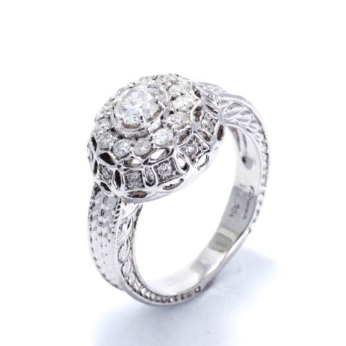 14K White Gold DIAMOND RING 0.75 TCW, G, VS-SI, Size 7.25 Resizable, 8.5g