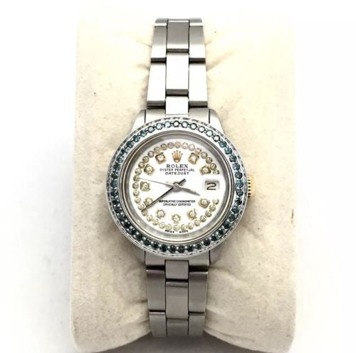 28mm ROLEX OYSTER PERPETUAL DATEJUST Ladies Watch w/ Blue Diamond Bezel In Box