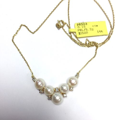 14K Yellow Gold Natural White PEARL NECKLACE w/ DIAMONDS 0.15 TCW & Chain, 5.2g