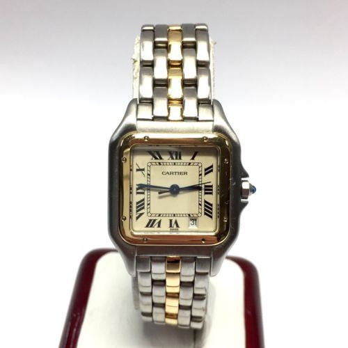 CARTIER PANTHERE 2 Tone Ladies Watch 18K Yellow Gold & Steel in Box