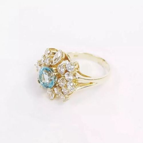 14K Solid Yellow Gold RING W/ Blue And White Swarovski Elements 6g Size 6.75
