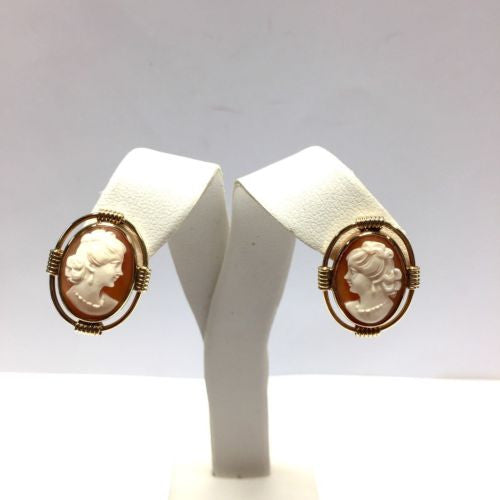 14K Solid Yellow Gold CAMEO EARRINGS 7.6g