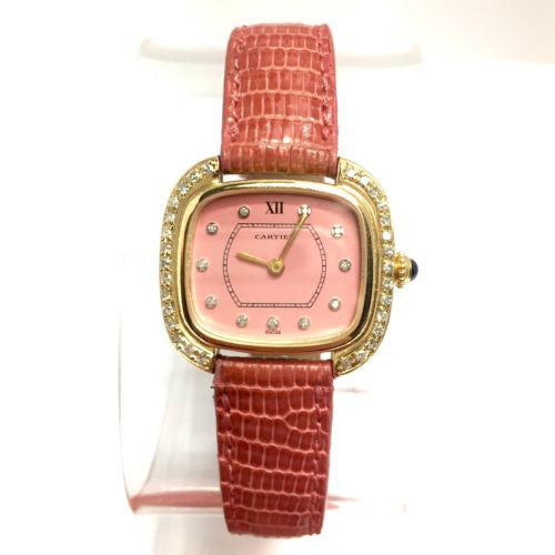 CARTIER 18K Yellow Gold Ladies Watch w/ DIAMONDS & Gorgeous Pink Dial In Box