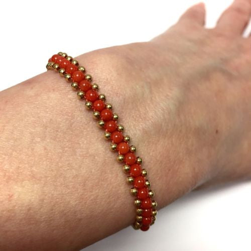18K Yellow Gold CORAL BRACELET Stamped 750, Length: 7 Inches