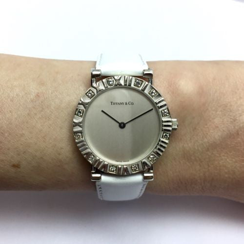 TIFFANY & Co. ATLAS Sterling Silver Ladies Watch w/ DIAMONDS, White Leather Band