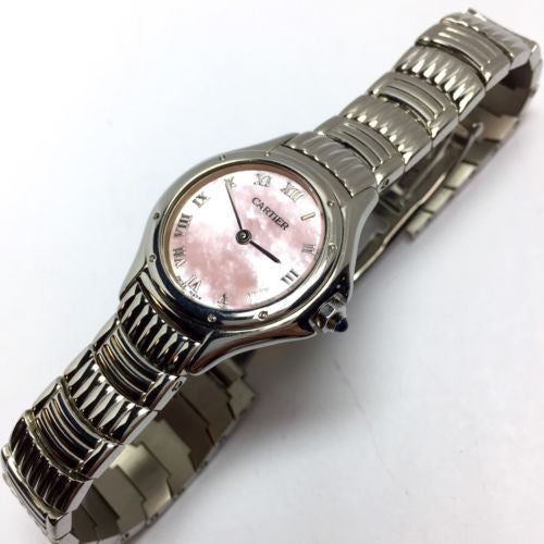 CARTIER Stainless Steel Ladies Watch w/ Pink Mother Of Pearl Dial, In Box