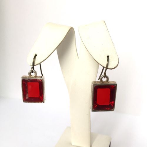 Sterling Silver RED STONE EARRINGS 11g