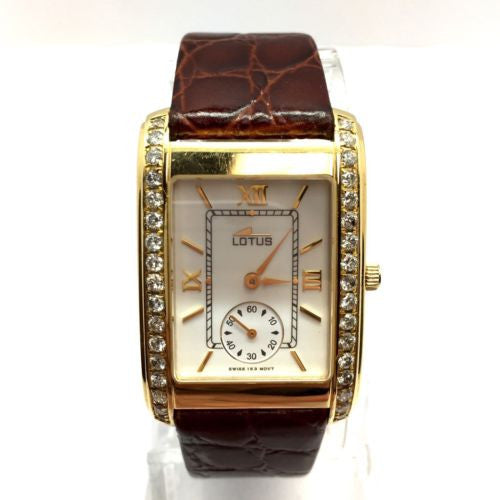 27mm LOTUS 18K Solid Yellow Gold Unisex Watch w/ DIAMONDS & Brown Leather Band