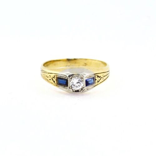 14K Solid Yellow & White Gold Ladies RING w/ DIAMONDS & SAPPHIRES 0.3 TCW Size 7