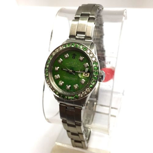 ROLEX DATEJUST Steel Ladies Watch w/ Green Dial DIAMONDS & Diamond Cut PERIDOT