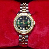 28mm ROLEX OYSTER PERPETUAL DATEJUST 2 Tone 14K Gold & SS Ladies Watch DIAMONDS