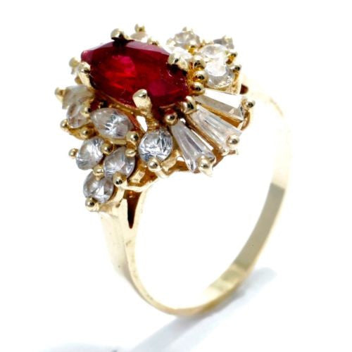 Gorgeous 14K Yellow Gold RING w/ Red & White CZ 3.0 TCW Size 7.5 Resizable 4.2g