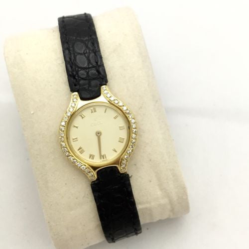 EBEL 18K Yellow Gold Ladies Watch w/ DIAMONDS & Original EBEL Black Leather Band
