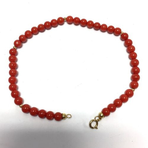 18K Yellow Gold CORAL BRACELET Stamped 750, 8 Inches Long, 5.5g