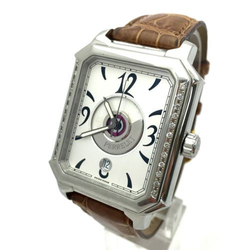 PERRELET Rectangle Royale SS Men's Watch Skeleton Back Case & Brown Leather Band
