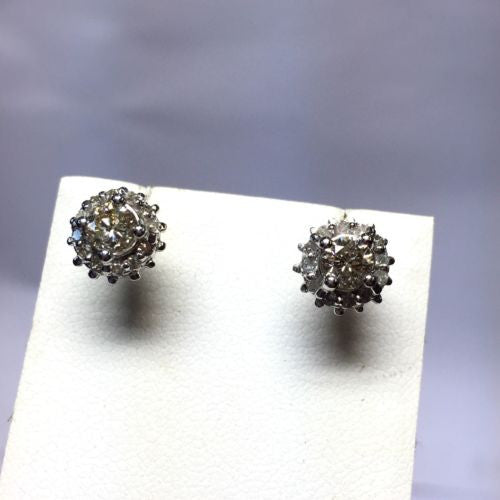 14K White Gold FANCY YELLOW DIAMOND Studs Earrings, 3.1g