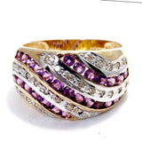 Gorgeous 10K Yellow Gold RING w/ DIAMONDS 0.35 TCW & AMETHYST Size 7.5 Resizable