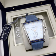 CORUM RAPESE SS Watch w/ DIAMONDS & Diamond Cut Blue SAPPHIRES In BOX