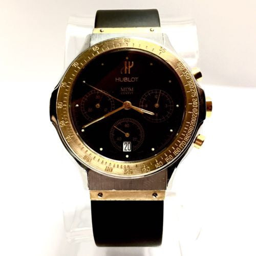 37mm HUBLOT 18K Yellow Gold & Steel Chronograph Men's Watch, Hublot Band In Box